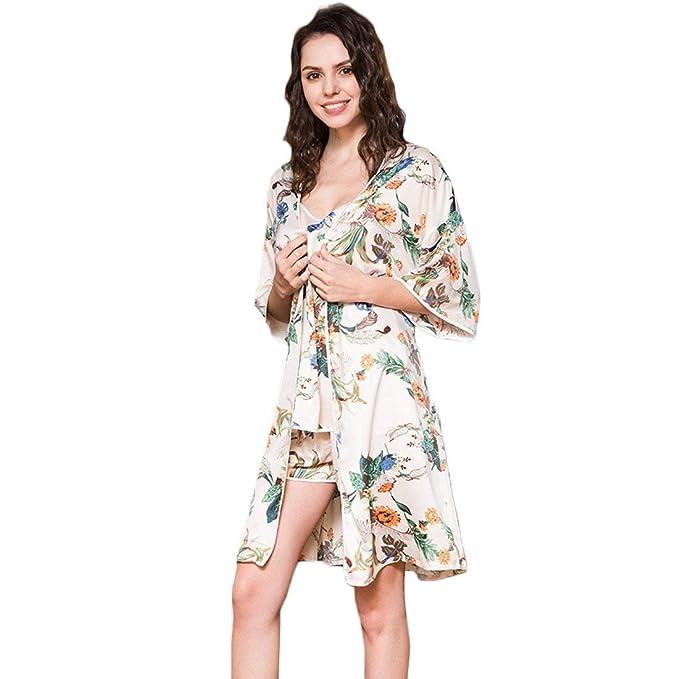 Batas Mujer Camisola + Cardigan + 3 Piezas Primavera Shorts Mode De Marca Otoño A Cuadros