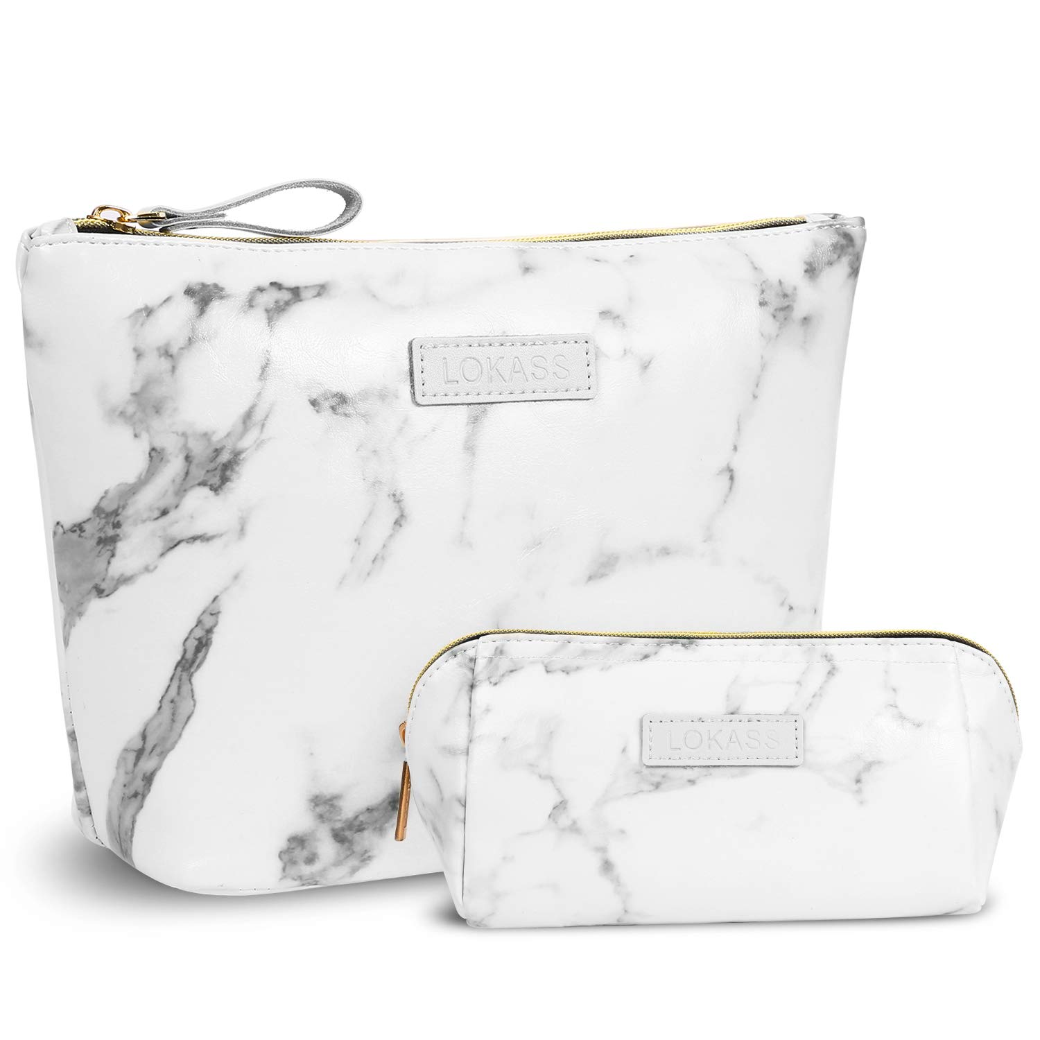 NiceEbag Large Makeup Bag Small Cosmetic Pouch for Purse Handy Makeup Bags Set Cute Travel Toiletry Organizer for Women, Cosmetics, Make Up Tools, Toiletries 2 in 1,Marble