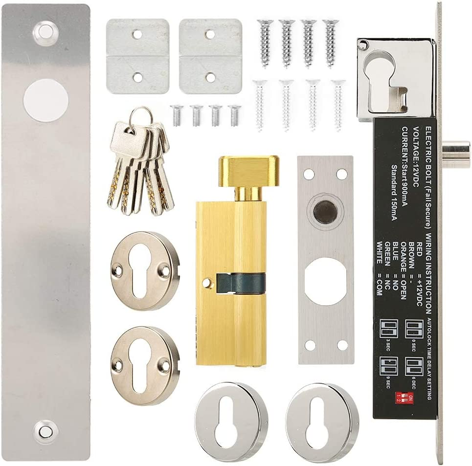 Door Lock with Delay Adjustable 5-Wire Electric Door Lock Security Access Control System for Shops Low Temperature Bolt Lock Warehouses Rooms Apartments