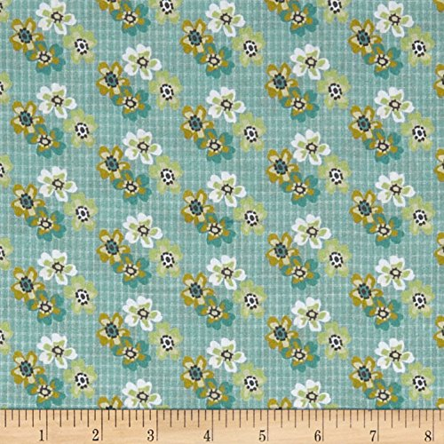 Fabric Rose Floral (Penny Rose Floral Hues Lawn Bouquet Teal Fabric by The Yard)