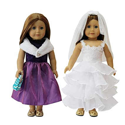 Amazon.com: 2 PCS American Girl Doll Prom Wedding Dress with 1 ...