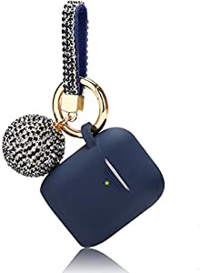 Case for Airpods, Filoto Bling Airpod Silicone Case Cover Skin, Air Pods Protective Glitter Case with Shiny Disco Ball Keychain, Scratch Proof and Drop Proof for Apple Airpods 2&1 (Midnight Blue)