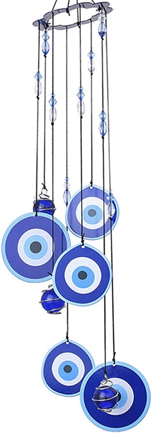 xiaofeng214 Turkish Wind Chimes Blue Turkey Evil Eye Amulet Protection Wall Hanging Home Garden Decoration Blessing Gift Lucky Pendant