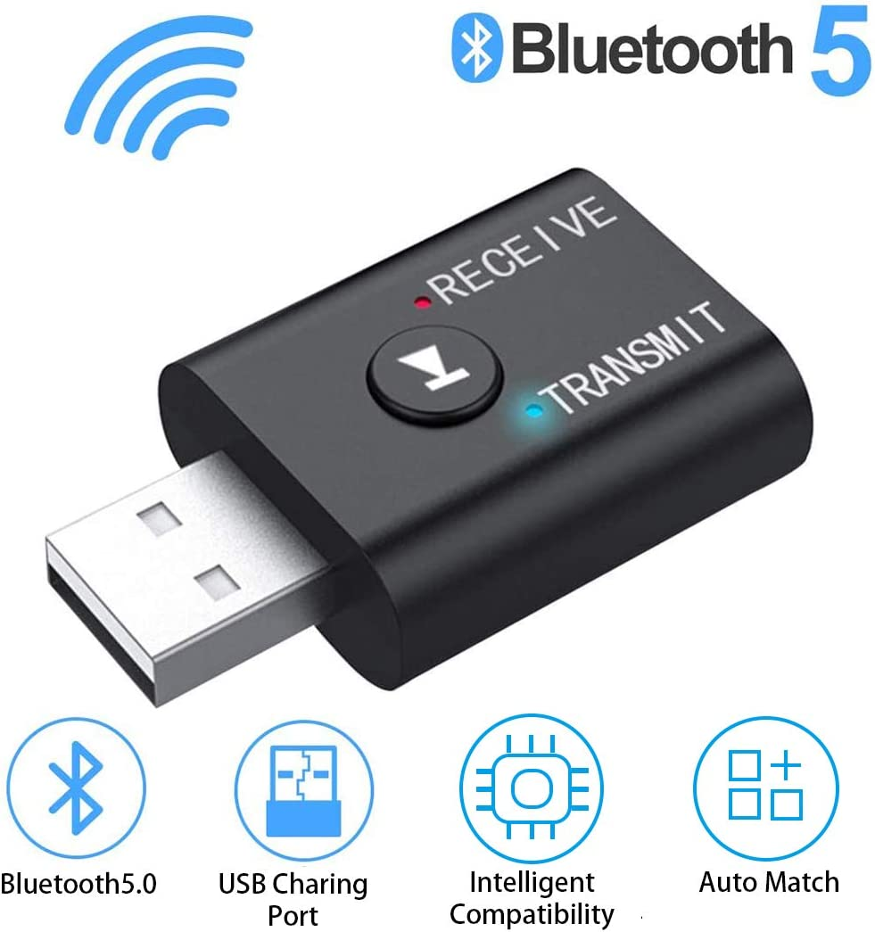 USB Bluetooth Adapter 5.0 Wireless Receiver Transfer Dongle, 2-in-1 Wireless Bluetooth Adapter for Laptop PC Audio Support Windows 10 8.1 8 7 XP Vista