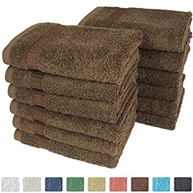 Turkish Luxury Hotel & Spa 13 x13  Wash Cloth Set of 12 - 100% Genuine Turkish Cotton - Organic, Eco-Friendly (Washcloths, Chocolate)