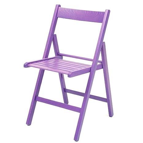 4 sillas plegables, color morado: Amazon.es: Hogar