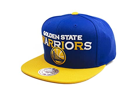 Image Unavailable. Image not available for. Color  Golden State Warriors  Mitchell   Ness Tri Pop Wordmark Snapback Cap Hat Blue Yellow b163080ba77