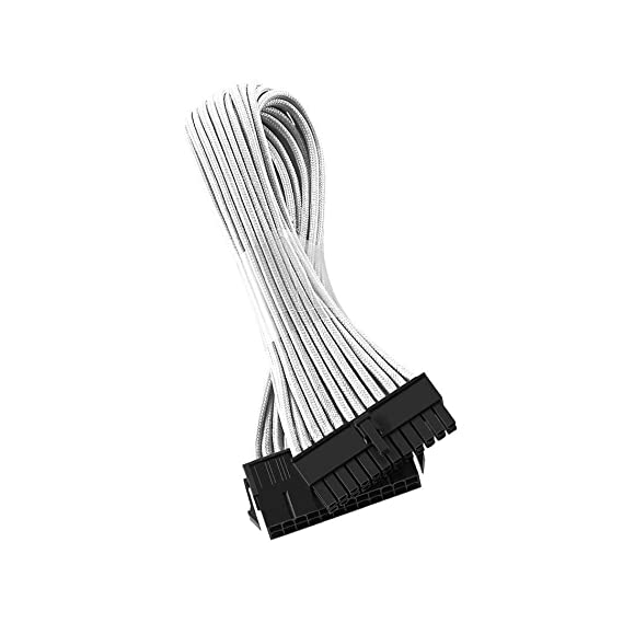 Amazon Com Antec Atx 24 Pin Sleeved Cable Extension 50cm White