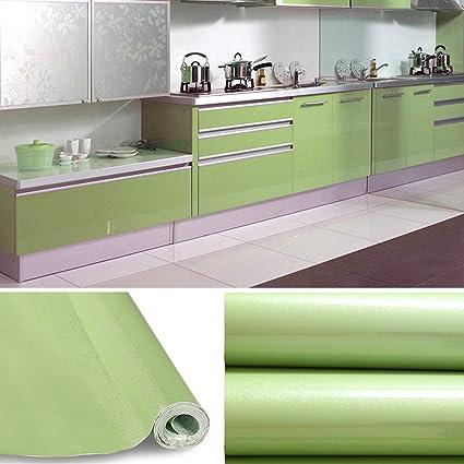 KINLO Adesivi Carta per mobili 0.6M x 5M PVC Impermeabile Adesivi mobili  rinnovato mobili da Cucina Verde