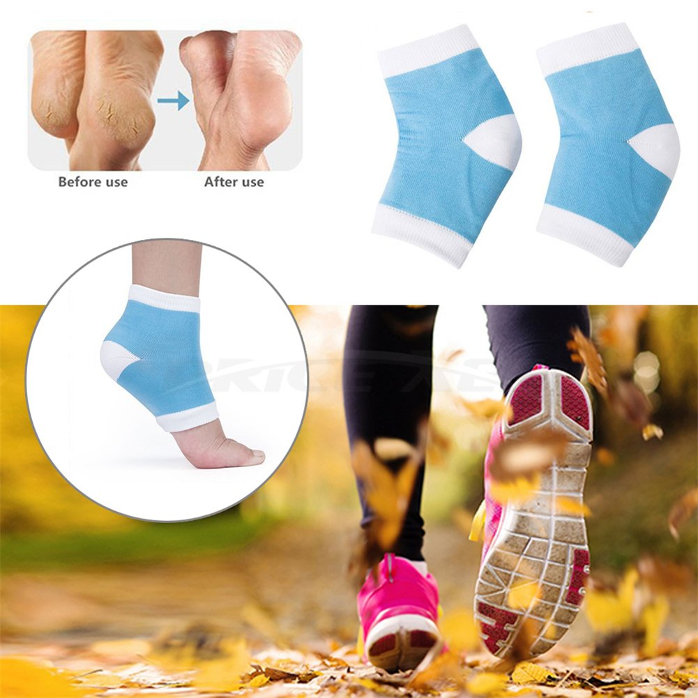 Gel Moisturizing Backfoot Cushion, Heel Care Cotton Socks Inserts, Feet Ankle Dry Hard Cracked Protectors, Foot Pain Relief Insoles,Soft Comfy Orthotics Sleeves - Day Night Beauty Sk (blue)