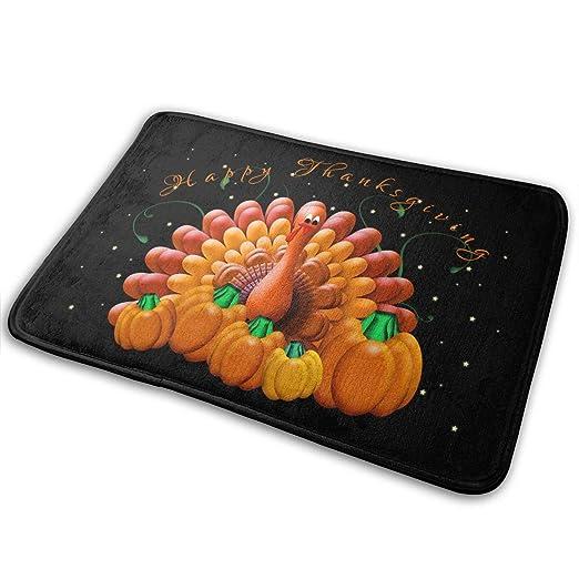 5acda11eb5c9 Amazon.com  Jingclor Doormat Entrance Floor Rug Happy Thanksgiving Turkey  Pumpkin Indoor Mat Non-Slip Flannel for Bedroom Bathroom Living Room  Kitchen Home ...
