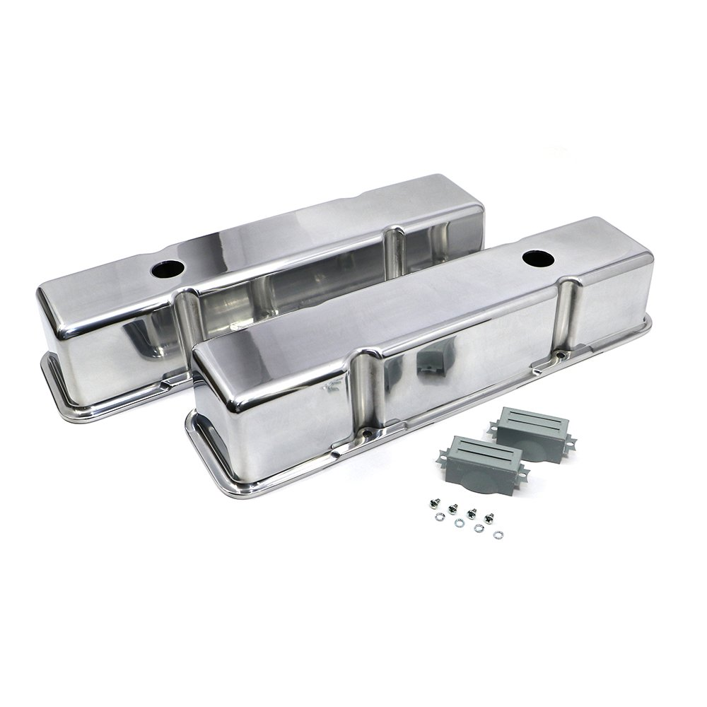 Assault Racing Products A6720 Small Block Chevy Polished Smooth Aluminum Valve Covers Pre-86 SBC