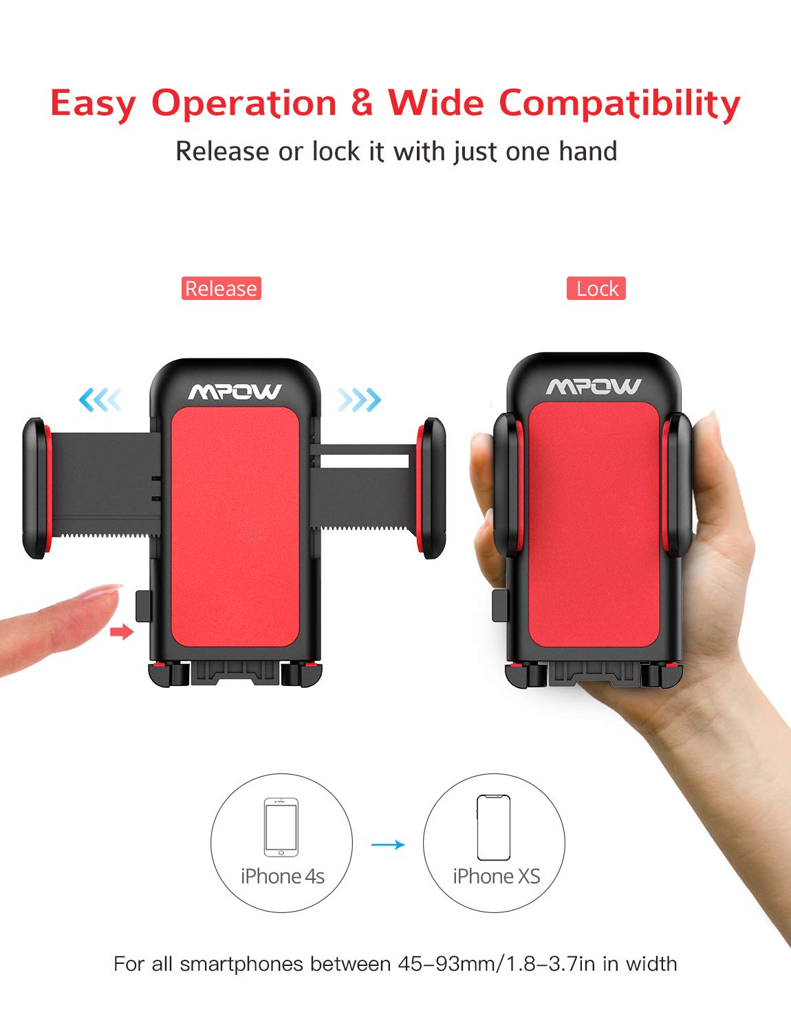 Mpow 051 Car Phone Mount, CD Slot Car Phone Holder, Car Mount with Three-Side Grips and One-Touch Design Compatible iPhone Xs MAX/XR/XS/X/8/8Plus, Galaxy S10/S10+/S10e/S9/S9+/N9/S8, Google, Huawei etc by Mpow (Image #6)