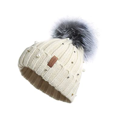 55c8893ea45 Pilipala Women Knit Winter Turn up Beanie Hat with Pearl and Fur Pompom  VC17605 (Beige