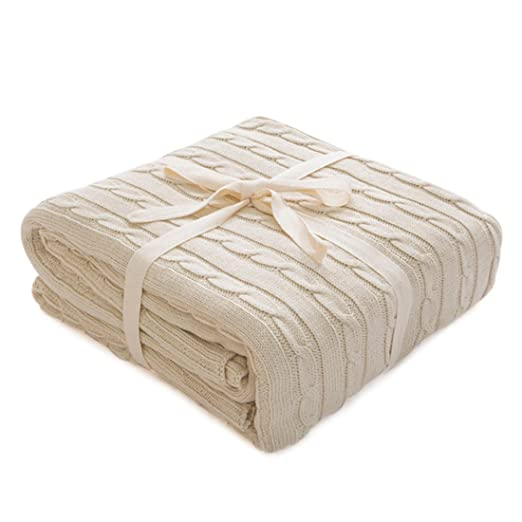 zhaoke casa de punto manta oficina almuerzo manta para sofá cama, algodón, beige, 180*200cm
