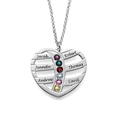 Floating Heart in Heart Necklace in Sterling Silver with Birthstones - personalised & Custom Made bRw5N