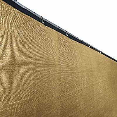 ALEKO PLK0625BEIGE Fence Privacy Screen 6 X 25 Feet Outdoor Backyard Fencing Windscreen Shade Cover Mesh Fabric With Grommets, Beige