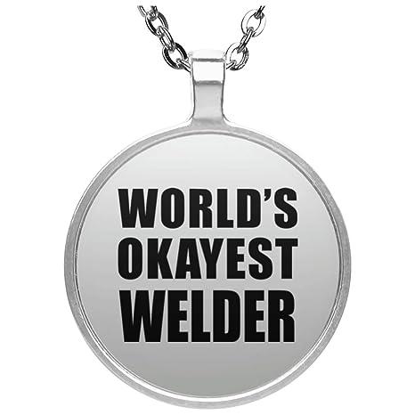 Okayest del mundo soldador – redondo collar, chapado en plata colgante, mejor para regalo