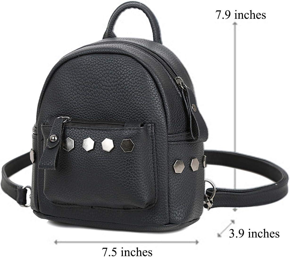 Black Hkiss PU Leather Studded Shoulder Mini Backpack