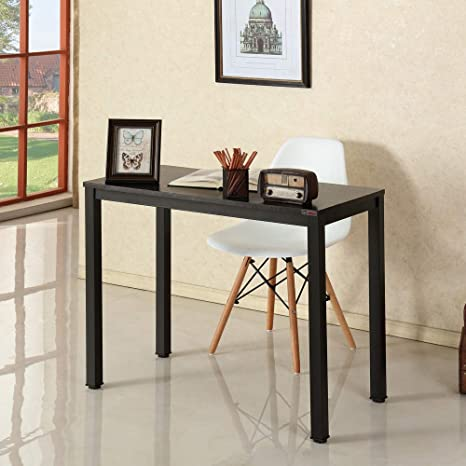 Need Small Laptop Desk for Small Space Computer Table (Black Walnut Color  Desktop & Black Steel Frame) 36\