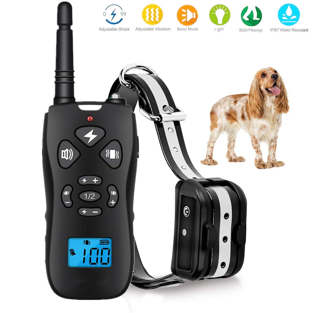 TEMEISI Dog Training Collar,Dog Shock Collar with Remote,with Beep/Vibration/Electric Shock/Light Modes,100% Waterproof Bark Collar,Safe for Small Medium Large Dogs