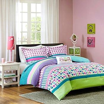 Adorable Girls Teen Kids OWL Bedding Comforter Set FULL QUEEN Polka Dot  Geometric + 2 Shams