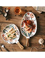 Sufonv Nordic Ceramic Dinner Plates Dish Steak Salad Tray with Wooden Handle Christmas Steak Plates Home Decor Oval Dishes Tableware Butterfly love flower color glaze