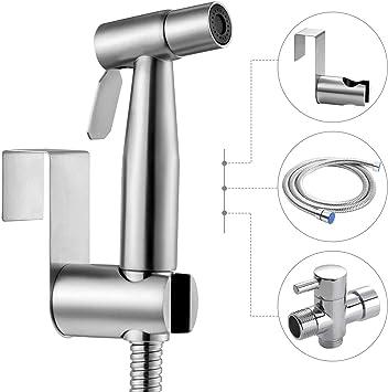 Perzcare Handheld Bidet Sprayer For Toilet Stainless Steel Bathroom Bidet Sprayer Set Spray Attachment With Hose For Feminine Wash Baby Diaper Cloth Washer Cleaner And Shower Sprayer For Pet Amazon Com