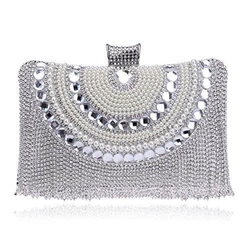 Donna Piccola Rettangolo Perle Diamanti Perline Tracolla Di Bianca Sera Nappe Con A Da Cristallo Strass Borsa Forma Bqv6II