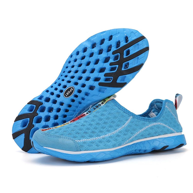 Adulte Mixte Chaussure Aquatique D'Eau Plage Piscine Chaussons de Sport Amoureux Loafers Notation Bleu 39 nrbsypeE