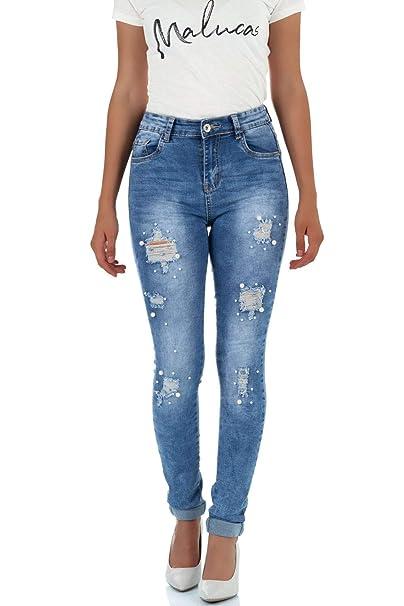 Malucas Damen Jeans Skinny Hose Normaler Bund Röhrenjeans Röhrenhose Stretch