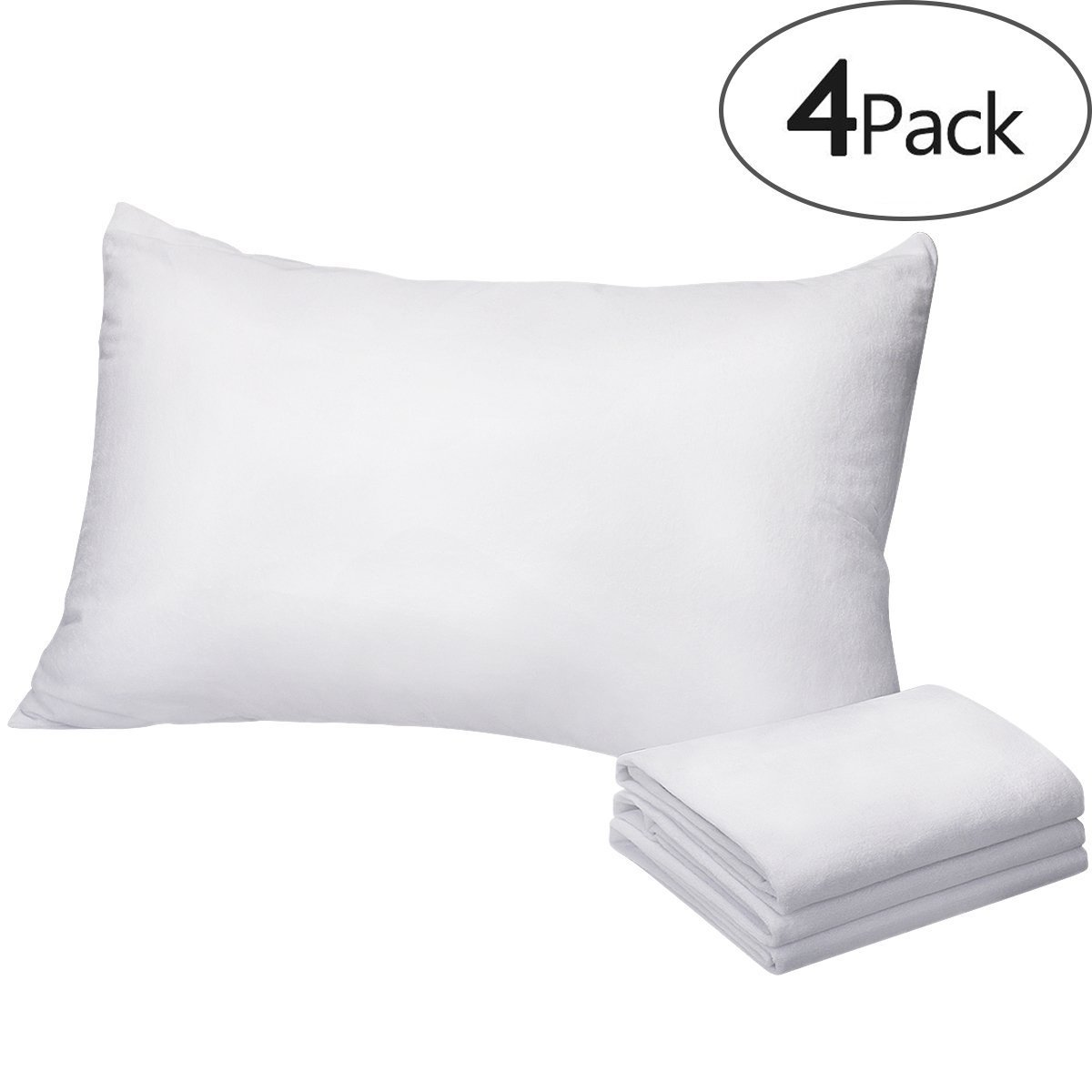 HOMEIDEAS 4-Pack Pillow Protectors, 100% Waterproof,Breathable Hypoallergenic Vinyl Free - Premium Zippered Cotton Terry Covers-King Size