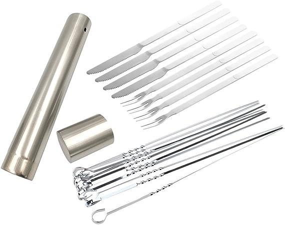 LIOOBO 6pcs Marshmallow Roasting Sticks Telescoping BBQ Forks Grilling Metal Skewer Hot Dog Forks 24cm