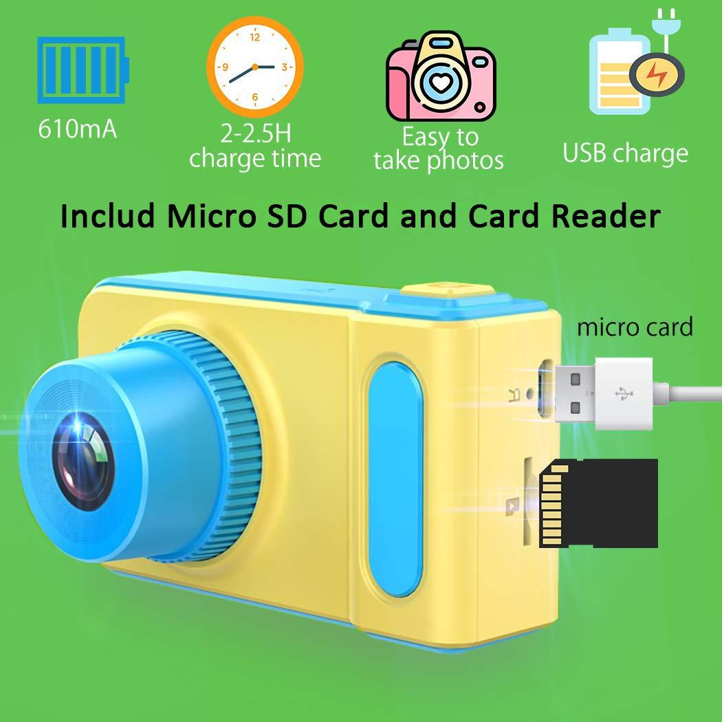 LOXROZ Kids Digital Camera Mini 2 Inch Screen Children's Digital Camera with Card Reader & 16G Micro SD Card (Blue) by LOXROZ (Image #3)