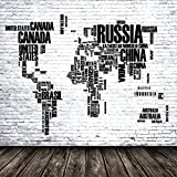 AOFOTO 6x6ft World Map Brick Wall Photography Background Father's Day Creative Design Countries Backdrop Business Office Decoration Dad Man Pap Artistic Portrait Photo Shoot Studio Props