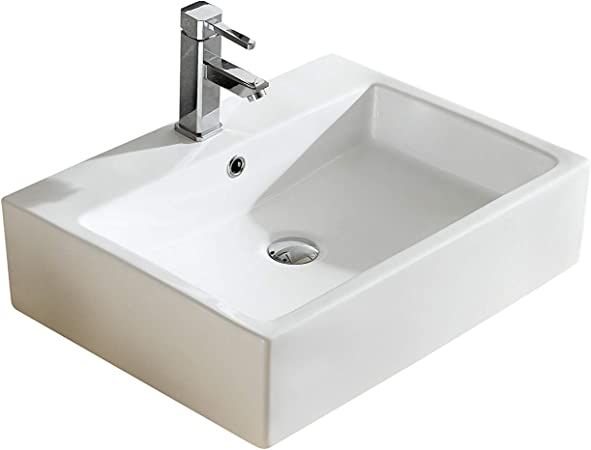 Fine Fixtures Rectangular Vessel Sink Vitreous China W Overflow Ve2317w Home Improvement