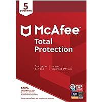 McAfee Total Protection - Antivirus | 5 Dispositivos | Suscripción de 1 año | PC/Mac/Android/Smartphones| Código de…