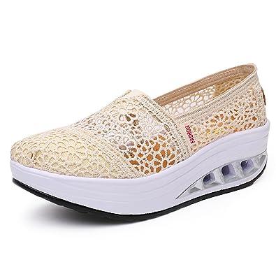 ce8d4e8306230 Chaussures à Bascule Respirant Femme Bouche Peu Profonde Chaussures Casual  Femmes Chaussures Printemps Et Été Chaussures