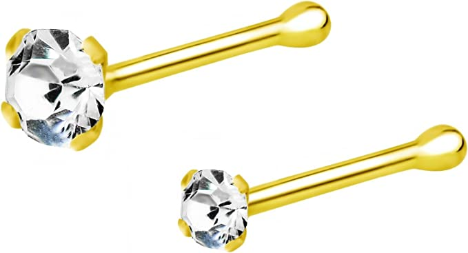 Piercing nose ring crystal gold plated 18k