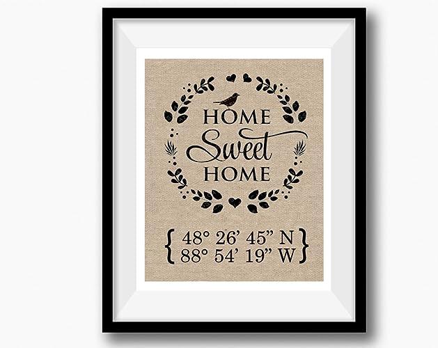 Amazoncom Home Sweet Home Burlap Print Latitude Longitude