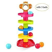 Peradix Jouet Circuit de Bille Balle Drop avec Rampe pour Bebe Swirl Ball Ramp Toddlers Balle Jouet Educatif Puzzle Rolling Ball (Singe)