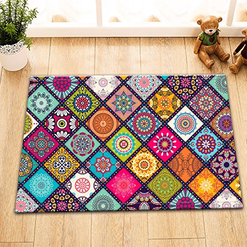 Gothic Church Cathedral Mandala Colorful Stained Glass Decor Stylish Bath Rugs 3D Digital 16x24 Inch Customized Gorgeous Colored Round Pattern Outdoor Indoor Front Door Mat Non-slip Bath Mat