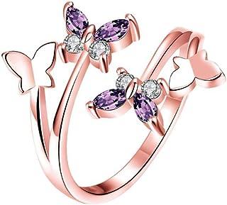Wicemoon Bijoux Bague Anneau Zircon CZ Papillon Ouvre Ajustable Alliance Fiançaille Mariage Alliage Femme Cadeau-Violet