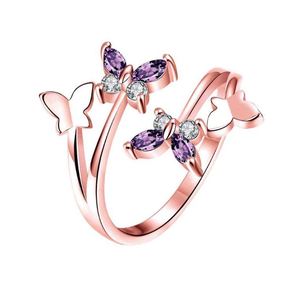 aikesi Elegant Open Ring de forme de papillon anneau de tendance chaude anniversaire de cadeau d'anniversaire pour fille (Silver, 1pièce) Tamaño libre argent