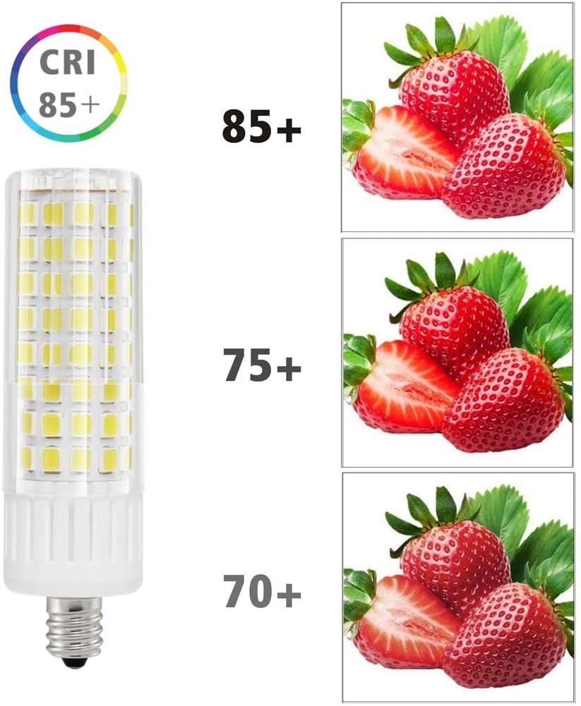 Daylight White 6000K 930LM JD T3 T4 for Pendants Ceiling Fans Sewing Machine E11 LED Light Bulbs Mini Candelabra E11 Base 75W 100W Halogen Bulbs Replacement 7.5W Daylight 6000K 7.5W