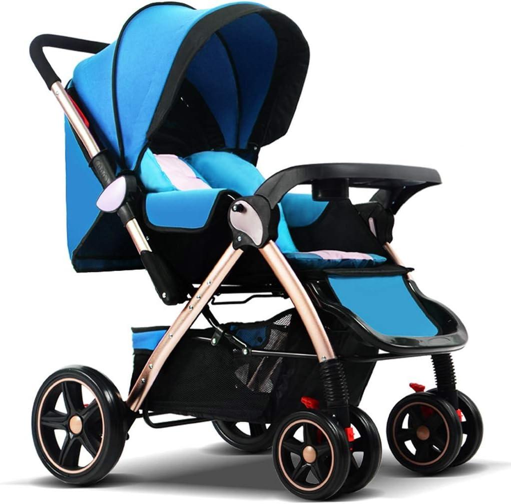 Cabrio Reclining Spazierg/änger 5-Punkt-Gurt und High Capacity Basket Faltbare und bewegliche Pram Carriage Sportkinderwagen STRR Kinderwagen Color : Blue