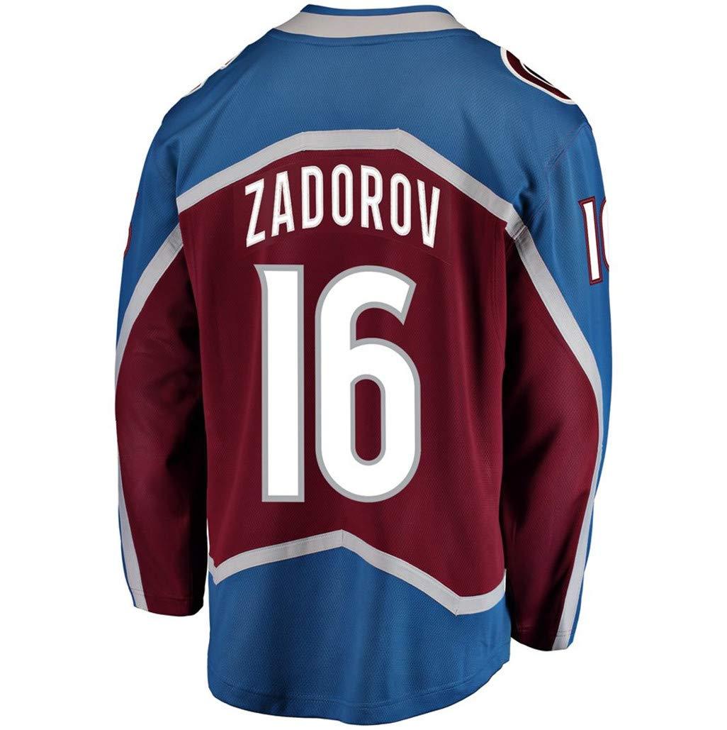 Mens Hockey Jersey Maroon/Strip S-XXXL(Maroon, 3X-Large) by Nikita Zadorov Avalanche Jersey (Image #1)