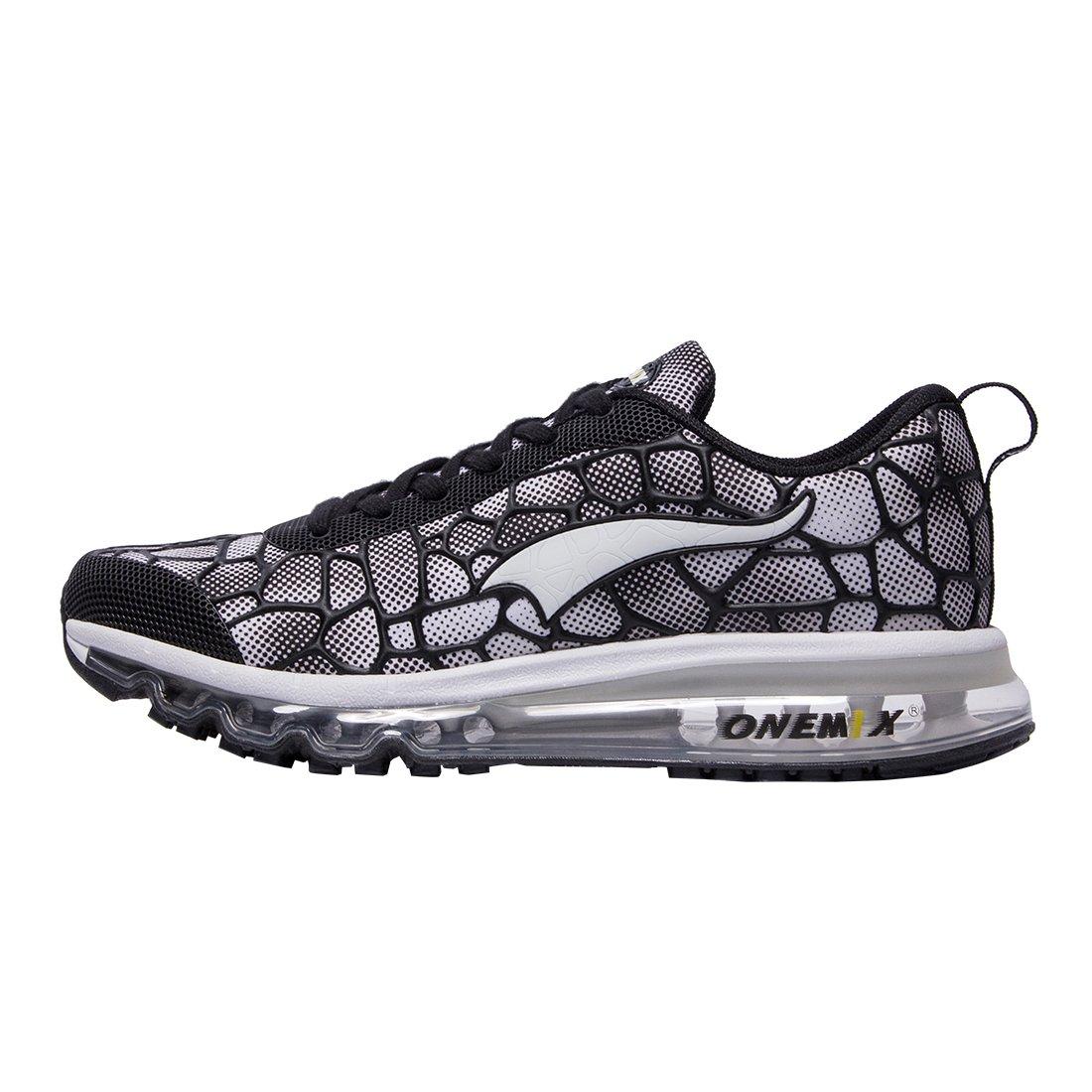 ONEMIX Hommes et Femmes Air Coussin Max Chaussures de de Chaussures Course Baskets pour Marche Sport Athlétique Fitness Sneaker Running 44 EU|Noir / Blanc 774ed4