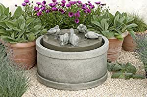 Campania International Passaros Cast Stone Outdoor Fountain Brownstone - FT-76-BR