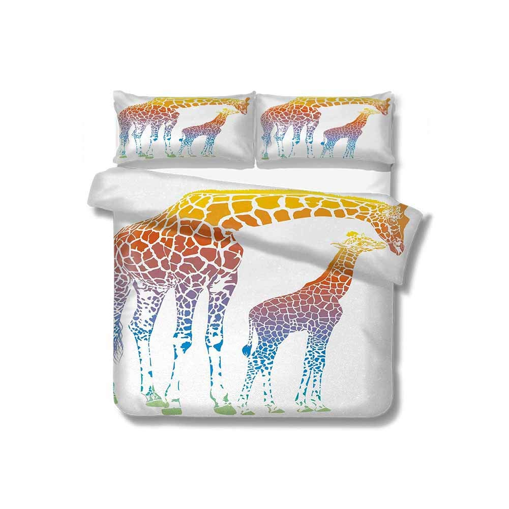 """PRUNUSHOME Giraffe Print Comforter Quilt Set,Mom Kid Giraffe in Rainbow Colors Abstract Art Surrealist Image of Animal with 2 Pillowcase for Kids Bedding(87"""" W x 95"""" L) Multicolor"""